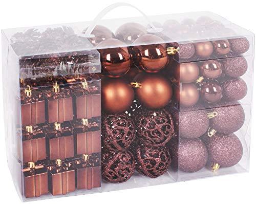 BRUBAKER 101-piezas de Bolas de Navidad con Copas de árboles (Marrón)
