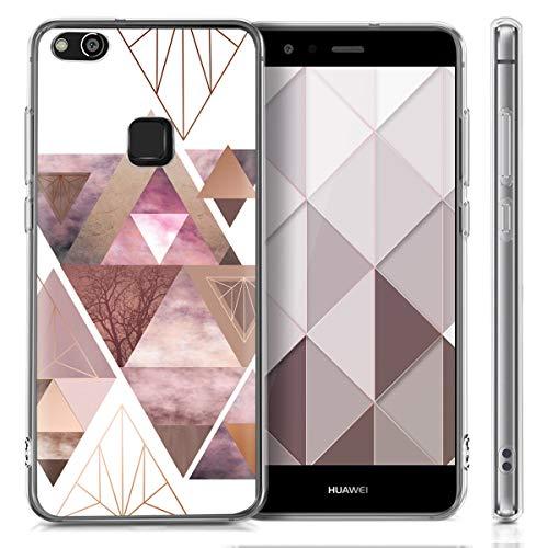 kwmobile Huawei P10 Lite Hülle - Handyhülle für Huawei P10 Lite - Handy Case in Glory Dreieck Muster Design Rosa Rosegold Weiß - 4