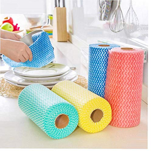 Onsinic 1 Rolle zufällige Farbe Vliesstoff Waschreinigungstuch Handtücher Küchentuch Einweg-gestreiftes Praktische Rags Abwischen Säuern Pad
