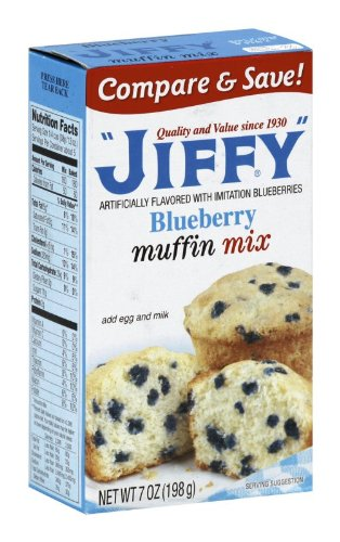 Jiffy Muffin Mix Blueberry, 7-Ounce Boxes (Pack of 24)