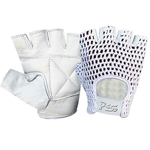 Prime Leather Guantes para Ciclismo de Cuero y Malla con Medios Dedos para Entrenamiento, Gimnasio - Antideslizante - Acrílico, Chica, H.F. Blanco-Blanco