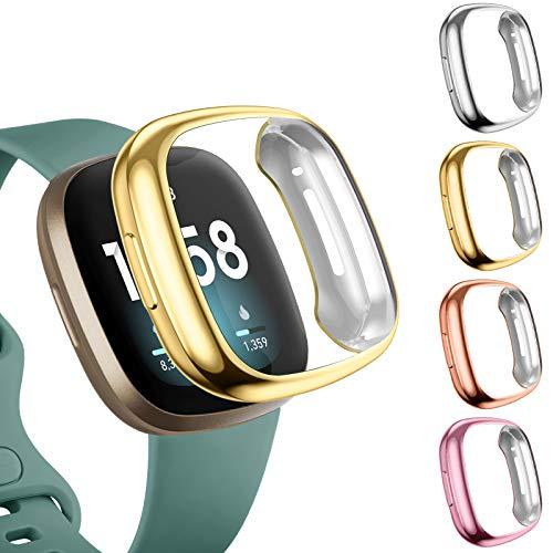 Upeak 4 Pack Funda Compatible con Fitbit Versa 3/Versa Sense Protector Pantalla, Estuche de Cobertura Completa de TPU Suave Solo para Fitbit Versa 3/Versa Sense, Oro/Plata/Oro Rosa/Rosa