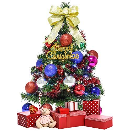 Legendog Mini Albero di Natale, Alberello di Natale LED Incorporate di 60 cm, Albero Stella e Ornamenti Decorazioni di Natale DIY