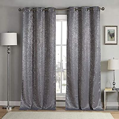 Duck River Textiles - Maddie Silver Metallic Textured Blackout Room Darkening Grommet Top Window Curtains Pair Panel Drapes for Bedroom, Living Room