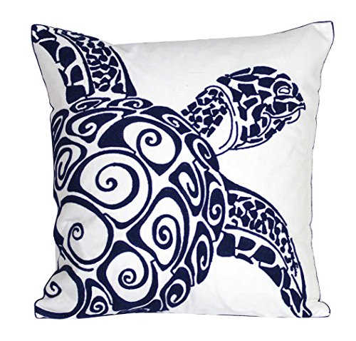 DECOPOW Embroidered Cute Nautical Animal Pillow Covers,Square 18