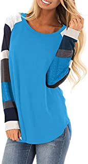 Womens Blouses Color Block Long Sleeve Striped Patchwork Shirt Flowy Tunic Tops