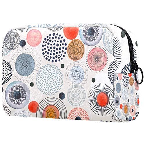 Make-up-Tasche mit farbigen Punkten, Kulturbeutel für Damen, Hautpflege, Kosmetik, Handtasche mit Reißverschluss