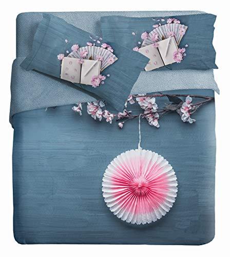 Ipersan Ventagli Parure Copripiumino Matrimoniale Fotografico Piazzato Fine Art, Cotone Organico, Azzurro