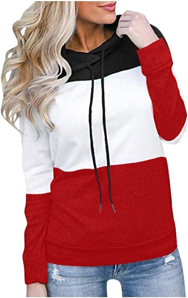 AODONG Pottseth Sweatshirts for Women Hoodie,Pile Neck Color Block Printed Long Sleeve Sweater Pulover Sweatshirts Tunic Tops