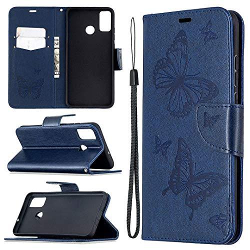 Huawei Honor 9X Lite Hülle, SATURCASE Schmetterling PU Lederhülle Magnetverschluss Brieftasche Standfunktion Handschlaufe Tasche Schutzhülle Handyhülle Hülle für Huawei Honor 9X Lite (Blau)