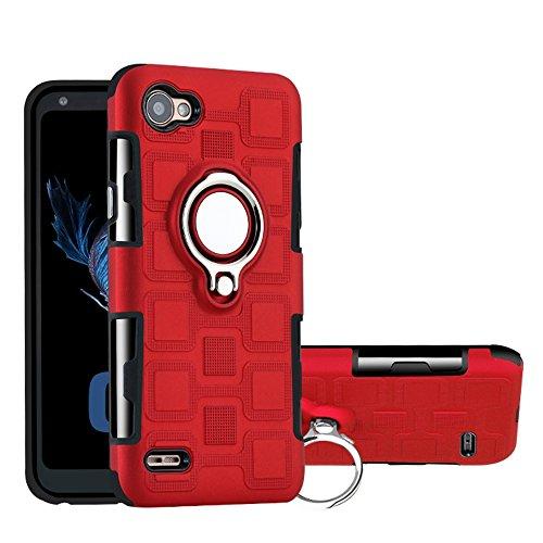 Capa para LG Q6, YINCANG híbrida PC + capa de silicone TPU macio com suporte de anel giratório de 360° e capa protetora de placa de metal com sucção magnética para LG Q6/LG G6 Mini/LG Q6 Plus vermelha