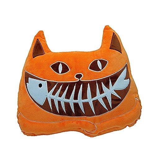 Iwinna Fish Bones Cat with Luminous Eyes Eating Fish Stuffed Plush Soft Toy Car Sofa Chair Seat Cushion/Pillow (Brown Cat)