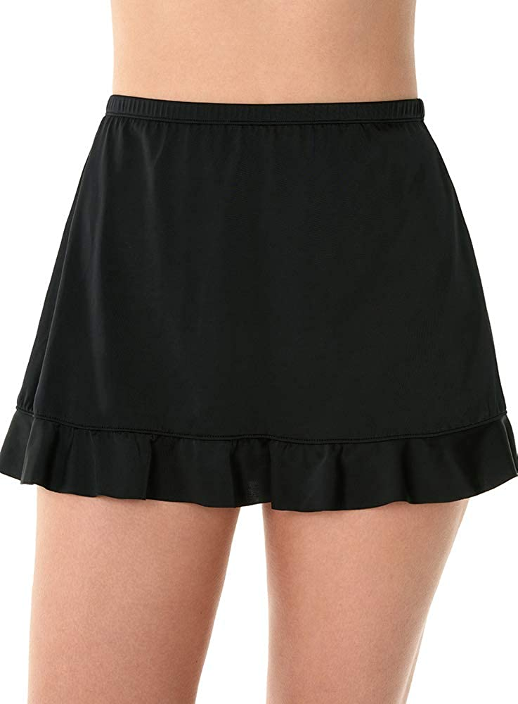 Caribbean Joe Women's Swimwear Ruffle Hem Swim Skirt Bathing Suit Bottom