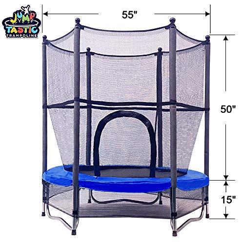 Jumptastic Trampolin für Kinder, 140 cm, Mini-Trampolin mit Netz, W-förmiger Stahlrahmen für Kinder, Kleinkinder, Baby