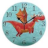 ISAOA Reloj de Pared Moderno de 9.4 Pulgadas, Divertido dragón Volador Decorativo silencioso números arábigos para Dormitorio, Sala de Estar, Cocina, Oficina, fácil de Leer