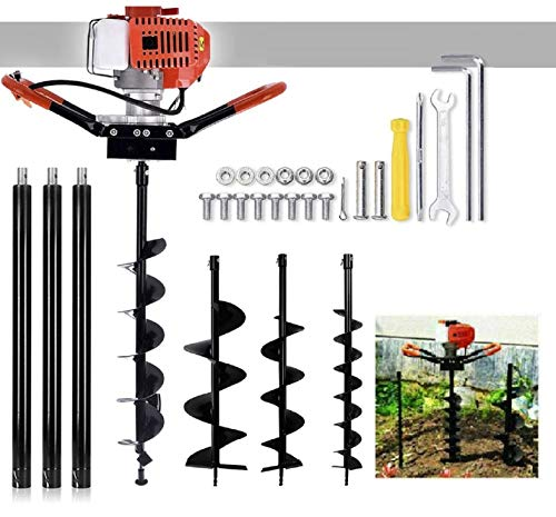 72cc Post Hole Digger Auger Petrol Drill Bit Earth Borer with 3 Bits 3 Extension Rods (4' & 8' & 12') Ultra Sharp Blades (72CC-)