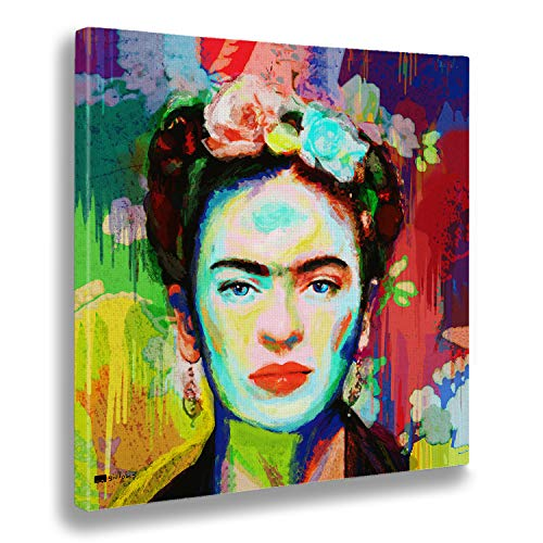 Giallobus - Quadro già intelaiato Pronto da Appendere - Stampa su Tela Canvas - Frida - Quadri Moderni per arredo casa Design - Vari Formati XXL - 50x50 cm