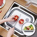 YIJIAHUI Tabla de cortar plegable tabla de cortar plástica multifunción tabla de cortar plegable fregadero cesta de drenaje cocina para carne, frutas verduras, tabla de cortar carne, cocina