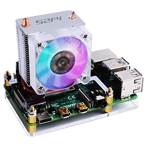 GeeekPi Raspberry Pi Cooling Fan, Raspberry Pi ICE Tower Cooler, RGB Cooling Fan with Raspberry Pi Heatsink for Raspberry Pi 4 Model B & Raspberry Pi 3B+ & Raspberry Pi 3 Model B