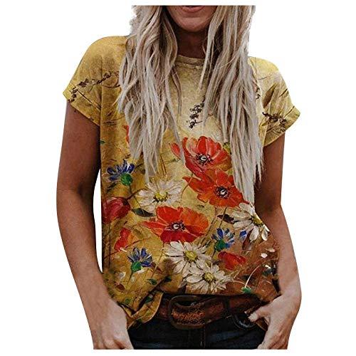WELCO 2021 Nouveau Mode Tee Shirt Femme Manche Courte, T Shirt Personnalisé Pas Cher Chemise Ample Blouse Col Rond Tunique Femme T Shirt imprimé Femme Tee S Top Femme Chemisier Chemise Oversize Femme