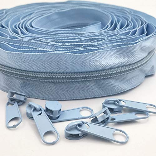 ABOO Cremalleras de nailon de 5 metros, 24 colores, con 10 deslizadores para costura y manualidades