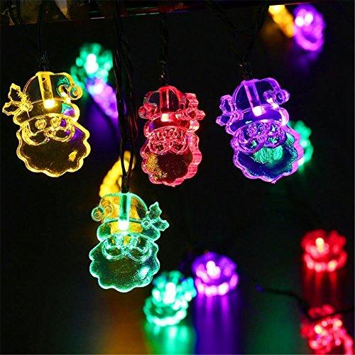 Lianshi Lampe solaire de décoration d'extérieur étanche avec 20 LED Père Noël