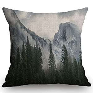 Swono Decorative Throw Pillow Cover 18×18 Inch National Park Nature Mountain Trees Mist Couch Pillow Cover Cushion Case…