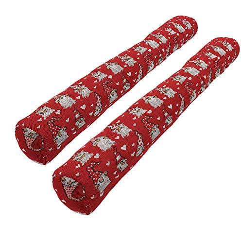 SunDeluxe Zugluftstopper 90 x 10 cm 2er Pack - Türluftstopper & Windstopper - Kälteschutz für Fenster und Türen, Motiv:Wichtel rot