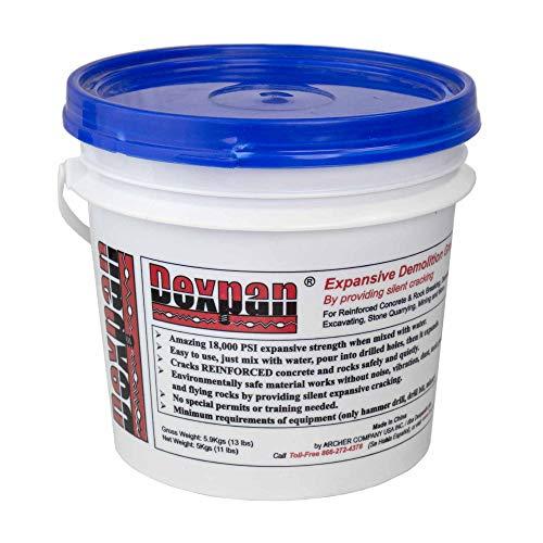 Dexpan Expansive Demolition Grout 11 Lb. Bucket for Rock Breaking, Concrete Cutting, Excavating. Alternative to Demolition Jack Hammer Breaker, Jackhammer, Concrete Saw, Rock Drill (#3 (23F-50F))