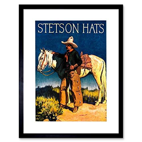 Wee Blauwe Coo Ad Stetson Man Cowboy Paard Hoed Nieuwe Foto Omlijst Muur Art Print