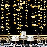 Pink Blume 52Ft Gold Herz Partyset Doppelseitig Metallisches Papier Banner Streamer für Jahrestag Hochzeit