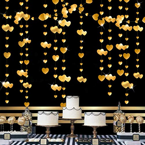 52 Ft Gold Heart Garland Kit Double Sided Metallic Paper Banner Streamer for Anniversary Mother's Day Engagement Wedding Bridal Shower Bachelorette Hen Birthday Valentine's Day Party Decorations