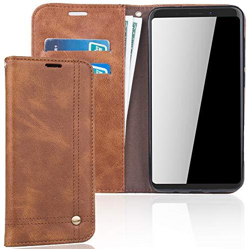 König Design Handyhülle Kompatibel mit Wiko View XL Handytasche Schutzhülle Tasche Flip Hülle mit Kreditkartenfächern - Braun