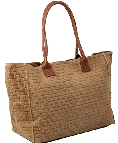 Made in Italy dames schoudertas shopper XL bag echt leer gevlochten cognac