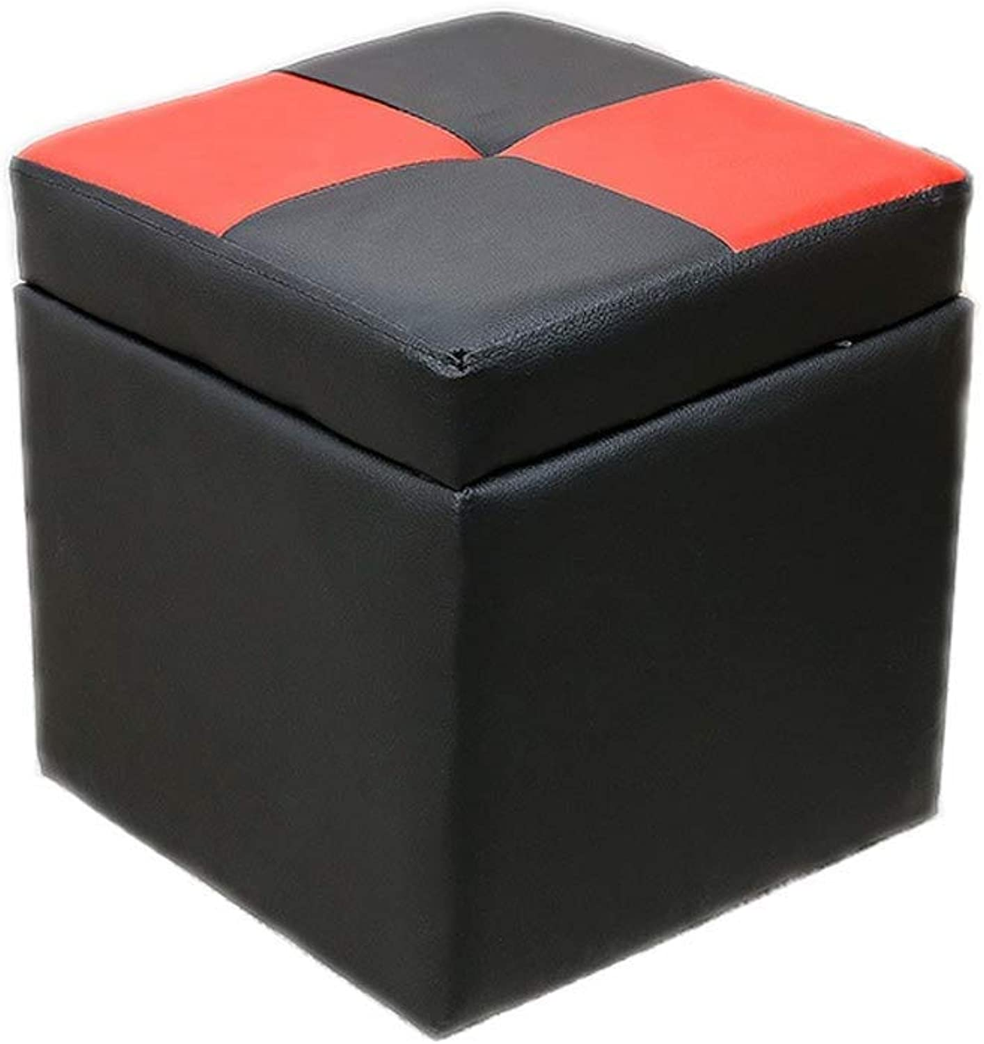 Storage Stool Footstool Pouffe Seat Trunk Stool Foldaway Chest Chair Practical Footrest Coffee Table Footstool Toy Storage Box LEBAO (color   Black Red)