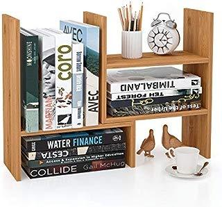 Homfa Bamboo Desk Storage Organizer Adjustable Desktop Display Shelf Rack Multipurpose Bookshelf for Office Kitchen