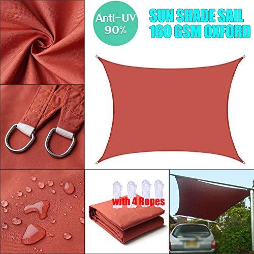 Rectangle Sun Shade Sail Waterproof Canopy, 95% UV Block Awning, for Outdoor Patio Garden Pergola Terrace Cover Sunscreen, Rust Red, Customize-3x4m