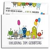 • 12x Einladungskarten zum Kindergeburtstag mit Umschlägen | Monster-Party | Jungen & Mädchen | Einladungskarten Geburtstag Kinder Junge | Geburtstagseinladungen Einladungen Baby Einladung Jungs