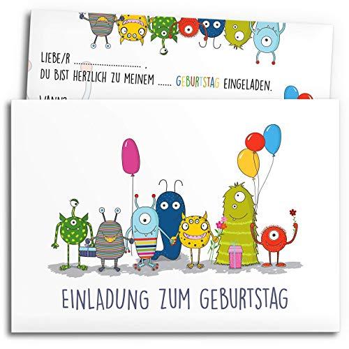 • 12x Einladungskarten zum Kindergeburtstag mit Umschlägen   Monster-Party   Jungen & Mädchen   Einladungskarten Geburtstag Kinder Junge   Geburtstagseinladungen Einladungen Baby Einladung Jungs