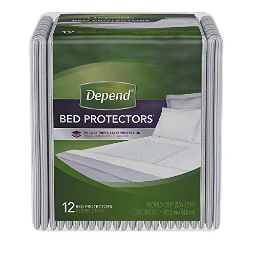Depend Incontinence Bed Protectors, Disposable Underpad, Overnight Absorbency, 12 Count (Pack of 1) ((Pack of 4))