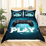 Teens Games - Juego de ropa de cama, funda nórdica de 135 x 200 cm, para niños, niñas, jóvenes, dormitorios modernos, juegos de realidad virtual, cubierta de triángulo geométrico, color azul y negro