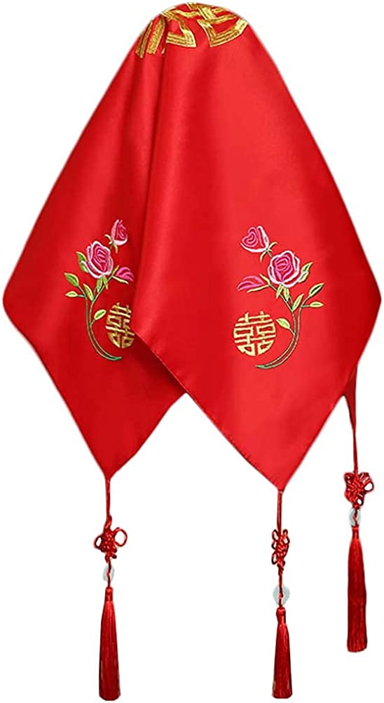 Traditional Chinese Wedding Bridal Veil Red Head Scarf A10