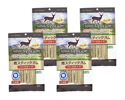 【4袋セット】 アスク (Asuku) ジャパンベニスン 無添加グルテンフリー鹿スティックガム ハード 8本 × 4袋