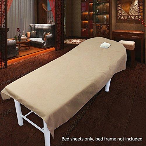 Schoonheid Bed Sheets, Hoge Kwaliteit Stof Mooie Effen Kleur Zachte Comfortabele Textuur Salon Sheets SPA Massage Behandeling Bed Tafelhoezen met Gat 80x190cm Kameel
