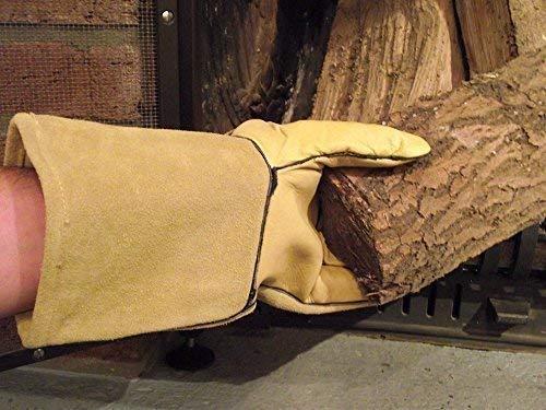 Kaminhandschuhe, Ofenhandschuhe, Hitzeschutzhandschuhe aus echtem Leder, 35 cm lang