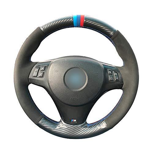 HCDSWSN Fundas para Volante de Coche,para BMW M Sport M3 E90 E91 E92 E93 E87 E81 E82 E88 Negro PU Fibra de Carbono Marcador de Tres Colores Cubierta del Volante