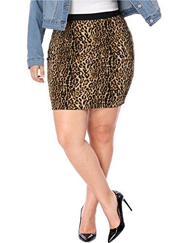 Agnes Orinda Women's Plus Size Elastic Waist Leopard Prints Mini Pencil Skirt Halloween Brown 3X
