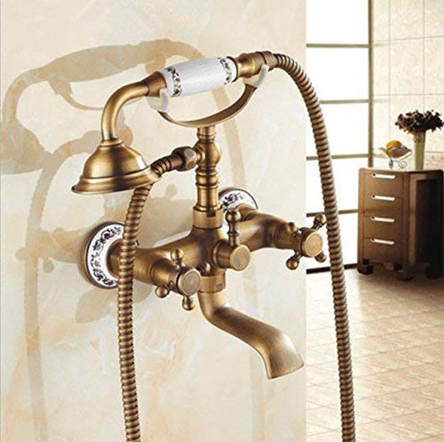 Ywqwdae Taps Kitchen Taps Basin Faucets Cold and Hot Water Mixer Bathroom Mixer Basin Mixer Tap Antique Hand Shower Retro Brushed Copper Hot and Cold for Kitchen Or Bathroom Taps