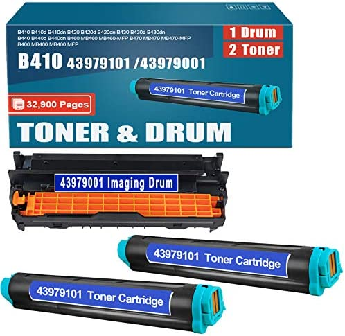 Compatible 2Pack 43979101 Toner and 1Pack 43979001 Drum Replacement for okidata B410 B410d B410dn product image