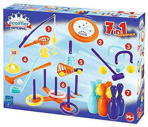 Ecoiffier 189 – Set di 7 giochi di apprendimento – Gioco all'aperto per bambini – dai 3 anni – Made in France